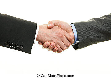 Two businessman shaking hands isolated on white background