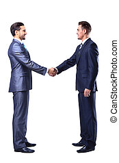 Two businessman shaking hands, isolated on white