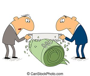 Two businessman share income - Vector illustration of a two...