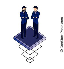 two businessman standing characters isometric