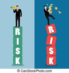 Two businessman standing on risk blocks