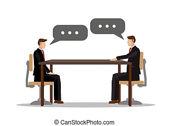 Two businessman talking with each other in the office. Concept of meeting, collaboration or corporate communication.