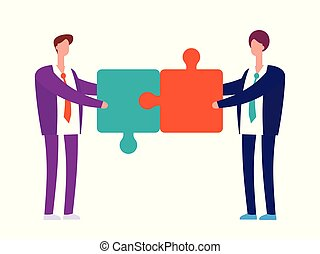Two businessman with puzzles