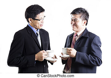 Two Businessmans talking and drink the coffee
