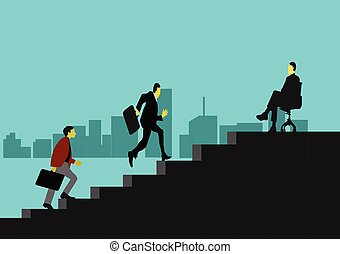 Two businessmen are climbing stairs. In order to go to executive positions.