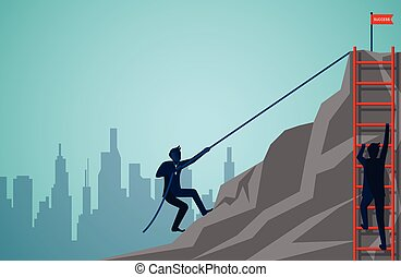 Two businessmen are competing to climbing up the mountain with ropes and stairs red. Business finance success. Overcome obstacles. leadership. illustration cartoon vector