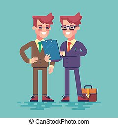 Two businessmen are looking at clipboard. Vector