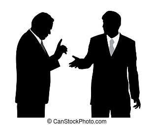 Illustration of two businessmen arguing. Isolated white background. EPS file available.