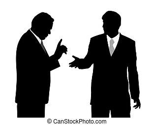 Two businessmen arguing - Illustration of two businessmen...