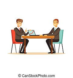 Two businessmen at a business meeting discussing new project with laptop in office vector Illustration