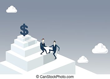 Two Businessmen Climbing Stairs To Money Dollar Sign Successful Business Team Development Growth Concept