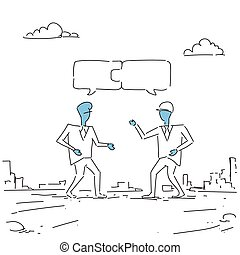 Two Businessmen Collecting Puzzle Teamwork Successful Business Team Development Growth