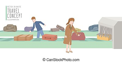 Two businessmen get luggage from the baggage carousel flat vector.