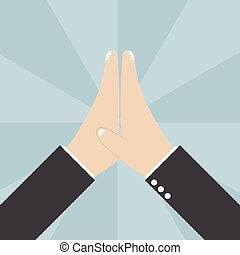 Two Businessmen hands giving a high