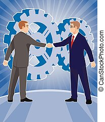 Two businessmen handshake