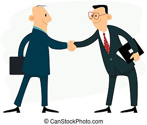Two businessmen handshake