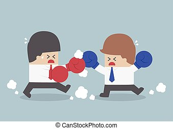 Two businessmen having a fight with boxing gloves
