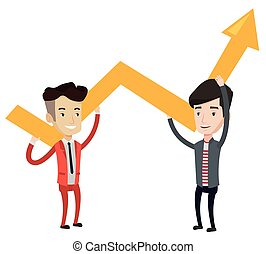 Two businessmen holding growth graph.