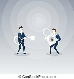 Two Businessmen Holding Key And Lock Team Business Opportunity Concept