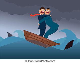 Two businessmen in one boat - Two terrified businessmen in...