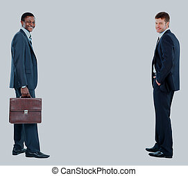 two businessmen isolated on white background.