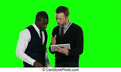 Two businessmen lose their bets. Green screen - Two...
