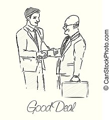Two businessmen made a good deal. Commitment, hand, deal,...