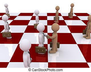 Two businessmen on chessboard shake hands - 3d businessmen...