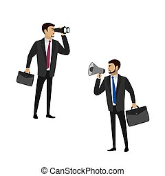 Two businessmen - one with a megaphone, the second with binoculars