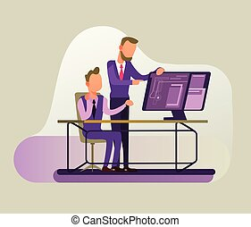 Two businessmen people managers character discussion business strategy. Successful cooperation concept flat cartoon graphic design illustration