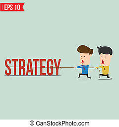 Two businessmen playing tug of war pull business word