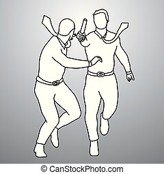 Two businessmen relay race vector illustration doodle sketch hand drawn with black lines isolated on gray background. Teamwork business concept.