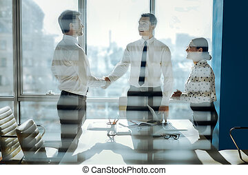 Two businessmen sealing the deal by handshake