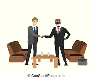 Two businessmen shake hands - Two businessmen different...