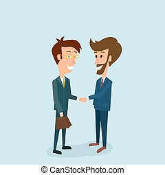 Two businessmen shake hands with each other. A good deal. Approval of the arrangement and solution of tasks in business. Partnership. Vector illustration of flat style