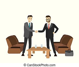 Two businessmen shake hands,isolated on white...
