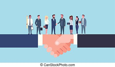 Two Businessmen Shaking Hands With Team Of Businesspeople, Business Agreement And Partnership Concept