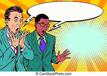 two businessmen shocked, multi-ethnic group. Pop art retro ...