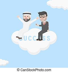 two businessmen sitting in a cloud