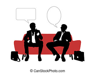 black and white silhouettes of two young handsome businessmen seated on red sofa having rest and speaking about their business, a vacant text bubbles above them