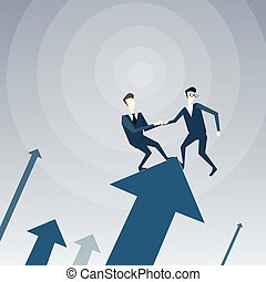 Two Businessmen Stand On Financial Arrow Up Holding Hands Successful Business Team Development Growth