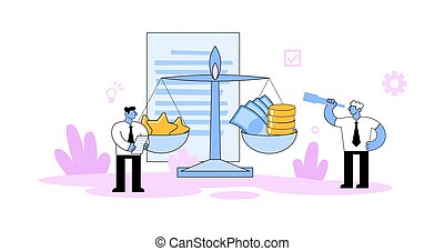 Two businessmen standing next to the scales with stars and money. Competition, benchmarking, evaluation business concept. Cartoon vector illustration. Flat style. Isolated on white background.