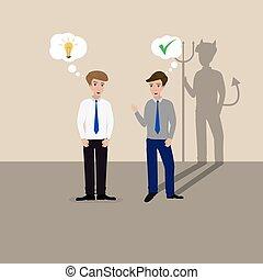 one lying devil shadow - Two businessmen talking, one lying...