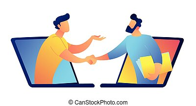 Two businessmen talking through laptop screens vector...