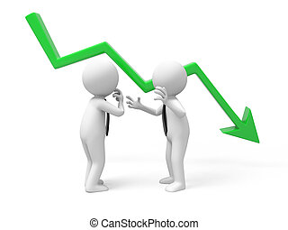 falling graph - Two businessmen talking with a falling graph