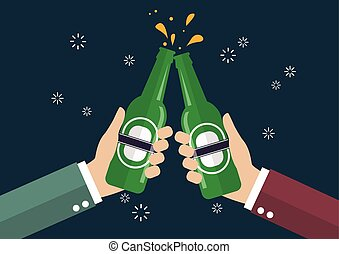 Two businessmen toasting bottle of beer