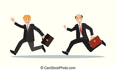 Two businessmen with a briefcase in their hand are late for work.