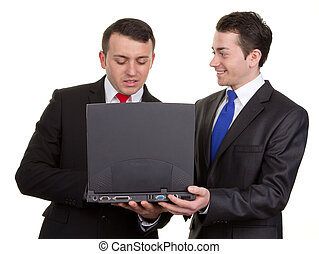 Two businessmen with a computer