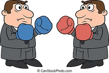 Two businessmen with boxing gloves