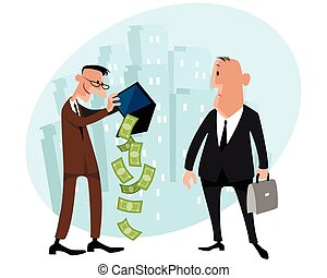 Two businessmen with money